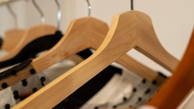 closeup of clothes rack